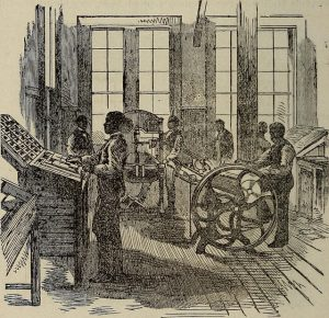 engraving/drawing of of students using printing press in the late 1800s