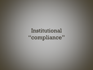 """text slide: institutional """"compliance"""""""