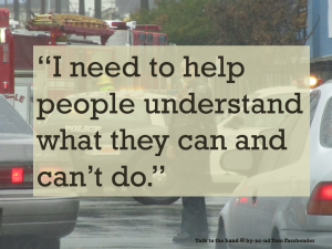 """Same image of policewoman directing traffic as above, with a text overlay - """"I need to help people understand what they can and can't do."""""""
